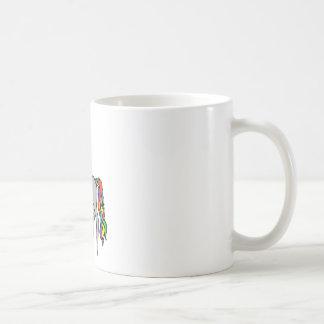 Arco iris del unicornio taza básica blanca