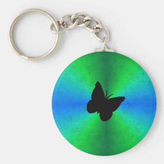 Arco iris del verde azul en la óptica de cuero de  llavero redondo tipo pin
