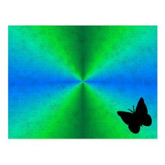 Arco iris del verde azul en la óptica de cuero de postal