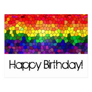 Arco iris del vitral - tarjeta de cumpleaños tarjetas postales