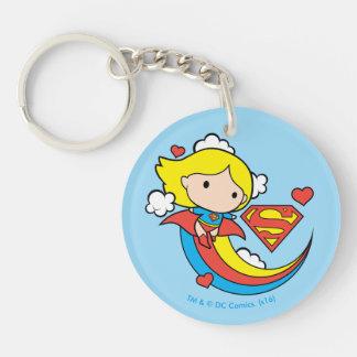 Arco iris del vuelo de Chibi Supergirl Llavero Redondo Acrílico A Doble Cara