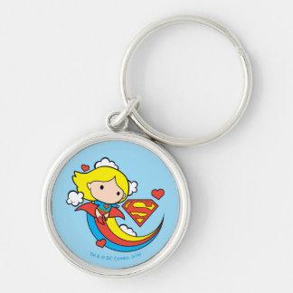 Arco iris del vuelo de Chibi Supergirl Llavero Redondo Plateado