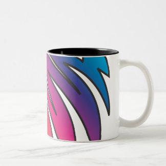 Arco iris dentado taza de dos tonos