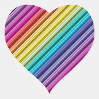 Arco iris diagonal colcomanias de corazon personalizadas