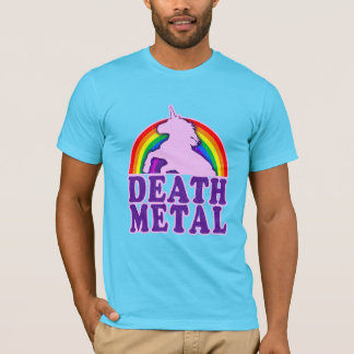 Arco iris divertido del unicornio del metal de la playera