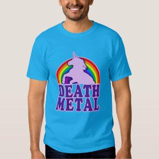 Arco iris divertido del unicornio del metal de la remera