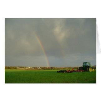 Arco iris doble en Farmfield Tarjeta