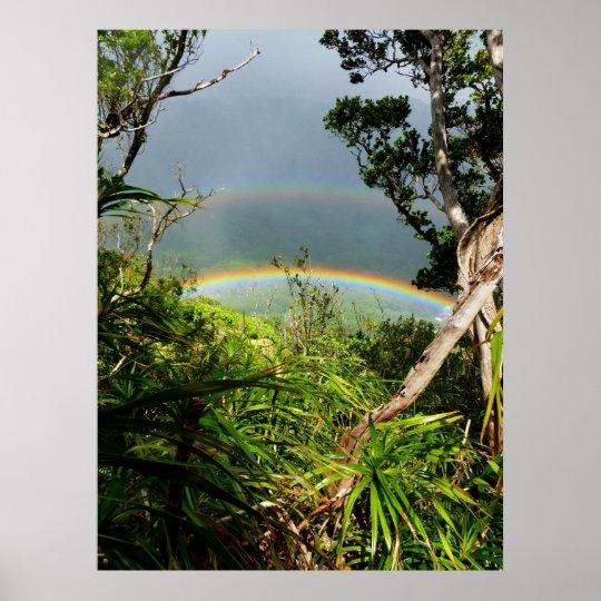Arco iris doble sobre el valle de Manoa Póster