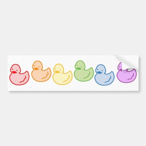 Arco iris Duckies Etiqueta De Parachoque