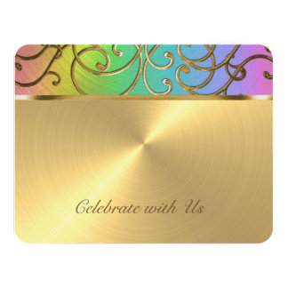 """Arco iris elegante y oro de Mitzvah del palo Invitación 4.25"""" X 5.5"""""""