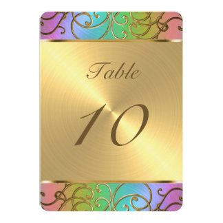 """Arco iris elegante y oro de Mitzvah del palo Invitación 5"""" X 7"""""""