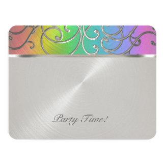 """Arco iris elegante y plata de Mitzvah del palo Invitación 4.25"""" X 5.5"""""""