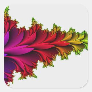 Arco iris emplumado de fractales pegatina cuadrada