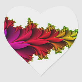 Arco iris emplumado de fractales pegatina en forma de corazón
