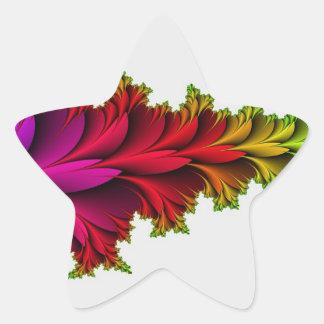 Arco iris emplumado de fractales pegatina en forma de estrella