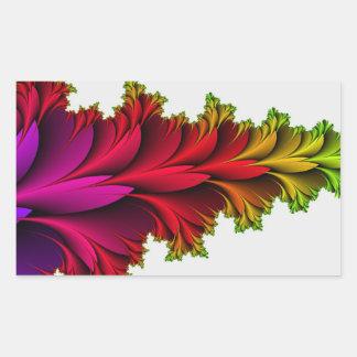 Arco iris emplumado de fractales pegatina rectangular