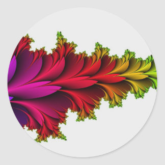 Arco iris emplumado de fractales pegatina redonda