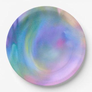 Arco iris en colores pastel de la acuarela - todas platos de papel