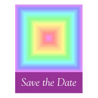 Arco iris en colores pastel geométrico tarjeta postal