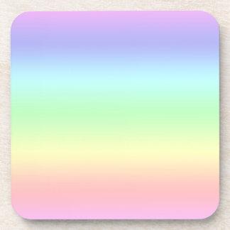 Arco iris en colores pastel posavasos de bebidas