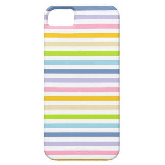 Arco iris en colores pastel y rayas blancas funda para iPhone SE/5/5s