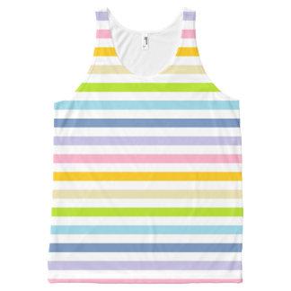 Arco iris en colores pastel y rayas blancas playera de tirantes con estampado integral