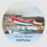 Arco iris en el puerto etiquetas redondas