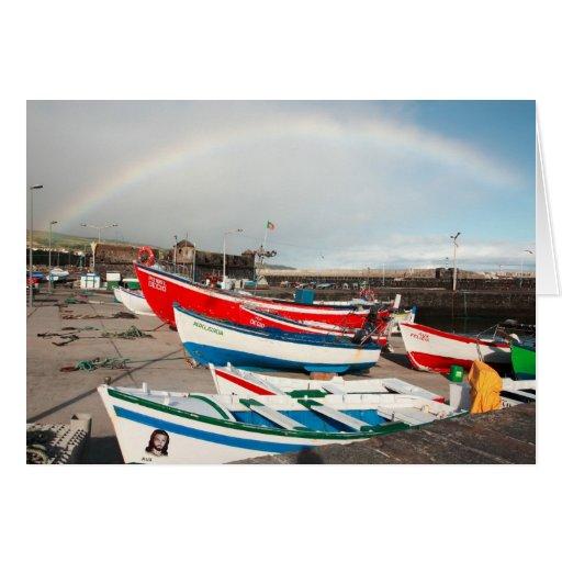 Arco iris en el puerto felicitación