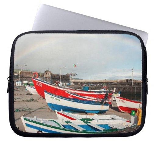 Arco iris en el puerto fundas portátiles