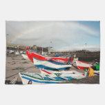 Arco iris en el puerto toallas