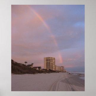 Arco iris en la impresión de Daytona Beach Póster