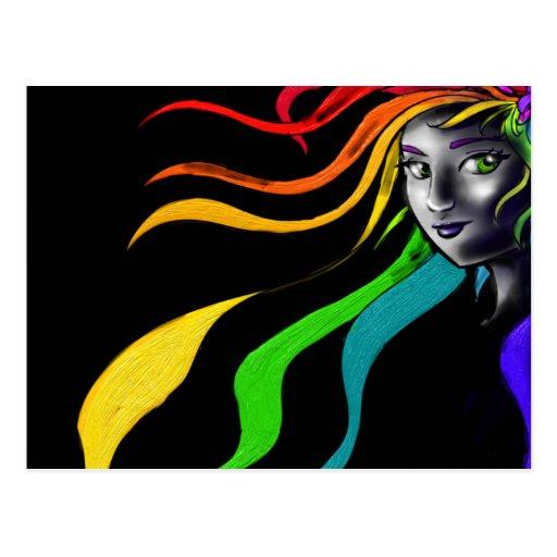 Arco iris en su pelo tarjetas postales