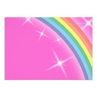 """Arco iris en un fondo rosado del cielo invitación 5"""" x 7"""""""