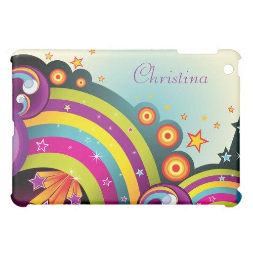 Arco iris, estrellas y burbujas abstractos colorid