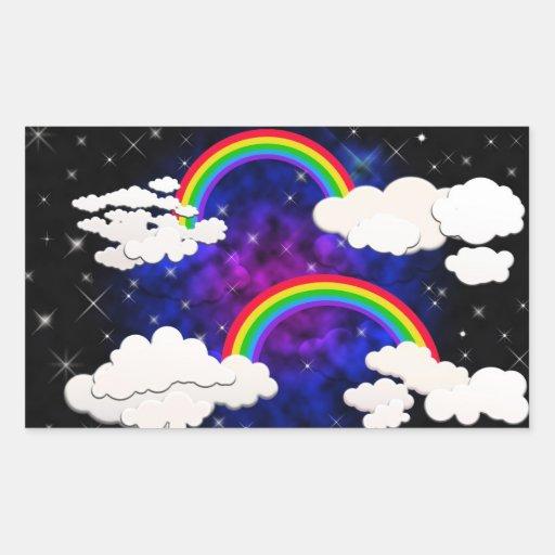 Arco iris, estrellas y nubes en un cielo nocturno rectangular pegatinas
