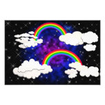 Arco iris, estrellas y nubes en un cielo nocturno arte con fotos