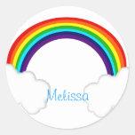 arco iris etiqueta redonda