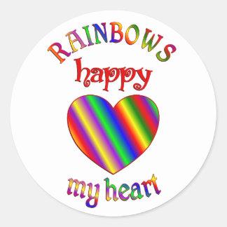 Arco iris felices mi corazón pegatina