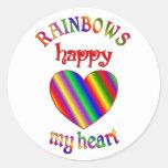Arco iris felices mi corazón pegatina redonda