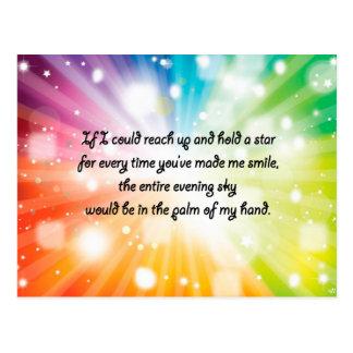 Arco iris feliz inspirado de la estrella de la tarjeta postal