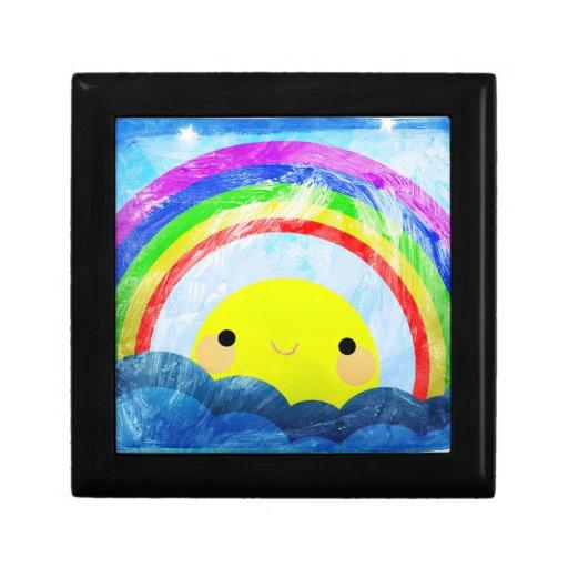 Arco iris feliz joyero cuadrado pequeño