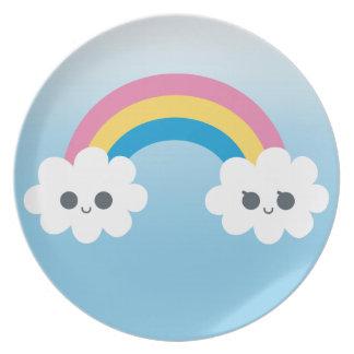Arco iris feliz lindo Cloudsroduct de PTwo del Platos Para Fiestas