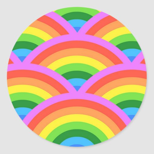 Arco iris feliz pegatina redonda
