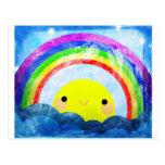 Arco iris feliz tarjetas postales