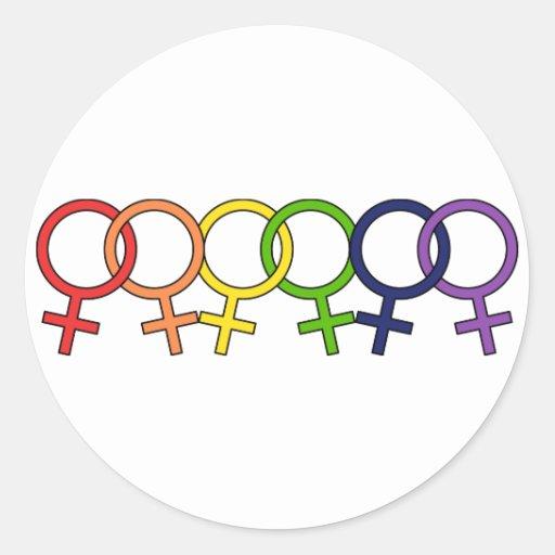 Arco iris femenino entrelazado etiquetas redondas