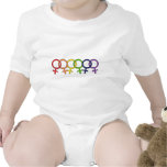Arco iris femenino entrelazado traje de bebé
