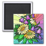 Arco iris floral imán de frigorífico