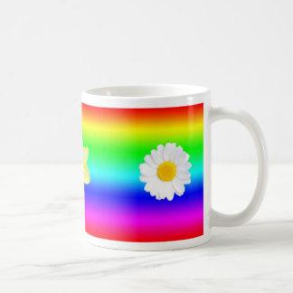 Arco iris floral taza de café