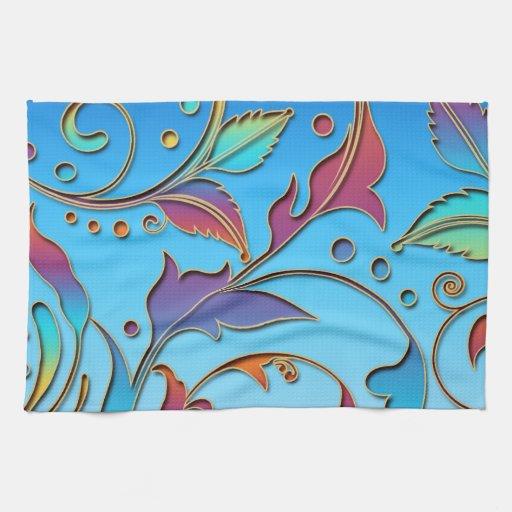 Arco iris floral toallas de cocina