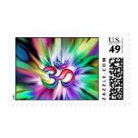 Arco iris floreciente Lotus OM Sellos Postales